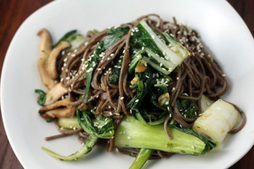 ... Noodles with Shiitake Mushrooms, Bok Choy, Ginger and Scallions