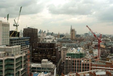 The view from the top of Westminster's Catholic Cathedral towards Westminster Abbey and the Shard beyond