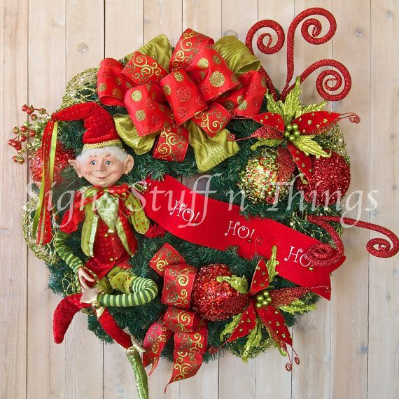 Christmas wreath holiday wreath Elf Wreath Designer Christmas Whi
