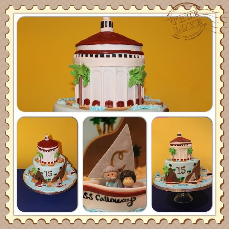 15th wedding anniversary cake depicted their honeymoon 15 years ago
