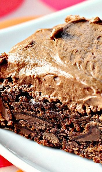 Chocolate fudge brownies with chocolate buttercream frosting # ...