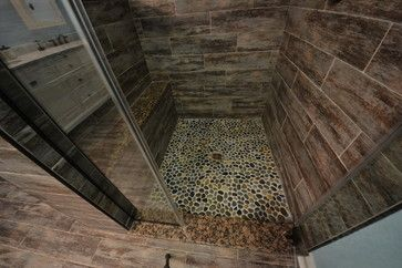 Tiled Shower In Ceramic Tile That Looks Like Wood