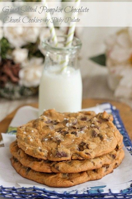 Giant salted pumpkin chocolate chunk cookies from Picky Palate