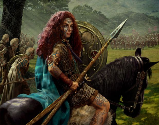 Gods Goddesses Legends Myths:  Boudicca, Queen of the Iceni Celts. When her husband, King Prasutagus, died in 60CE, the Romans reneged on an earlier agreement and demanded she hand over her land and wealth. She refused. The Romans beat her and raped her daughters. Afterward, Boudicca amassed and led a force of 100,000 warriors against the Roman army and very nearly defeated them. Her army sacked London and held the Romans at bay for over six months... longer than any other military leader ever.