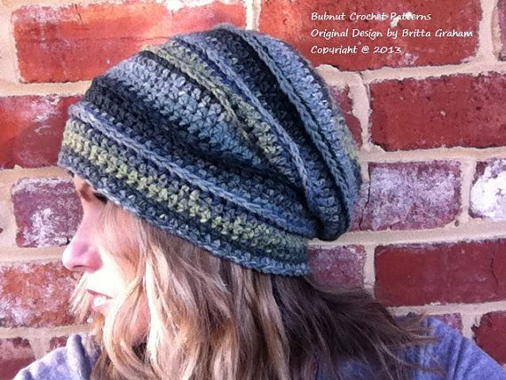 Adults Slouchy Hat Crochet Pattern No.308 Ladies by bubnutPatterns, $3 ...