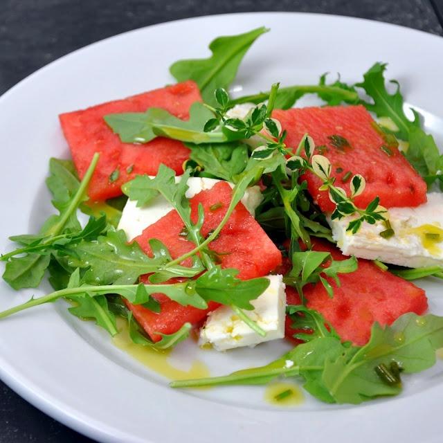 Watermelon and Arugula Salad with Feta and Chile Vinaigrette | Recipe