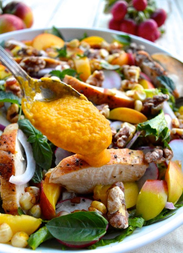 Nectarine Salad with Seared Chicken & Carrot Ginger Dressing by ...