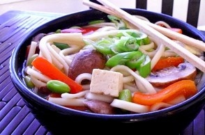 udon noodle with edamame, peppers & mushrooms in ginger-garlic broth ...
