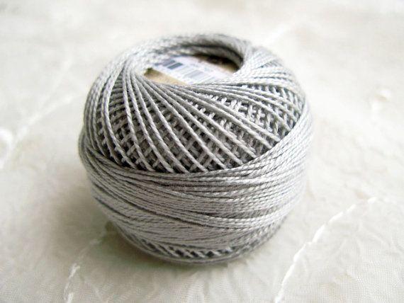 Embroidery Thread Light Gray Silver Gray Cotton Perle
