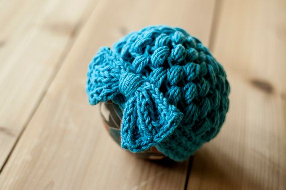 Crochet Knit Stitch Hat : Puff stitch hat with large bow, newborn size crochet hat with knit bow ...