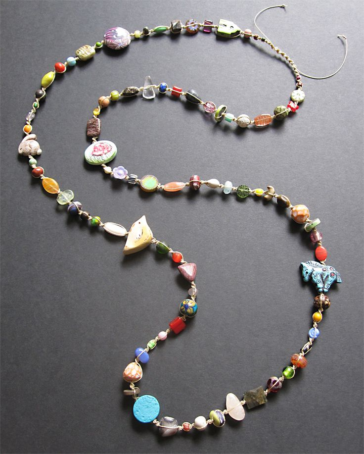 long macrame knotted necklace
