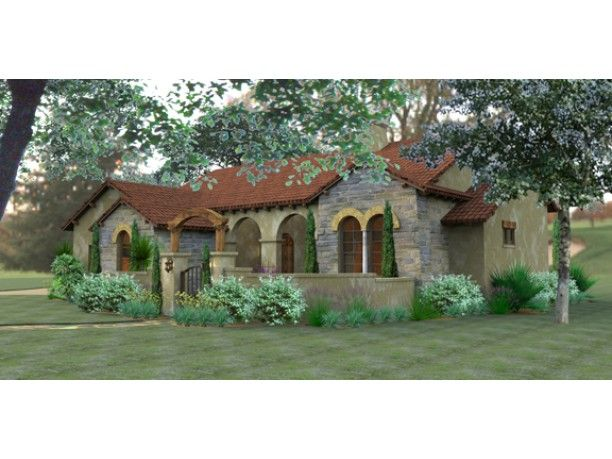 Mediterranean W Courtyard 1800sq Foot House Plans
