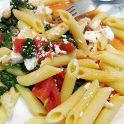 Penne with Tomatoes, Cannellini Beans and Feta