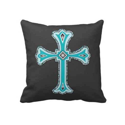 Decorative Turquoise Throw Pillows : Turquoise Cross decorative throw pillow