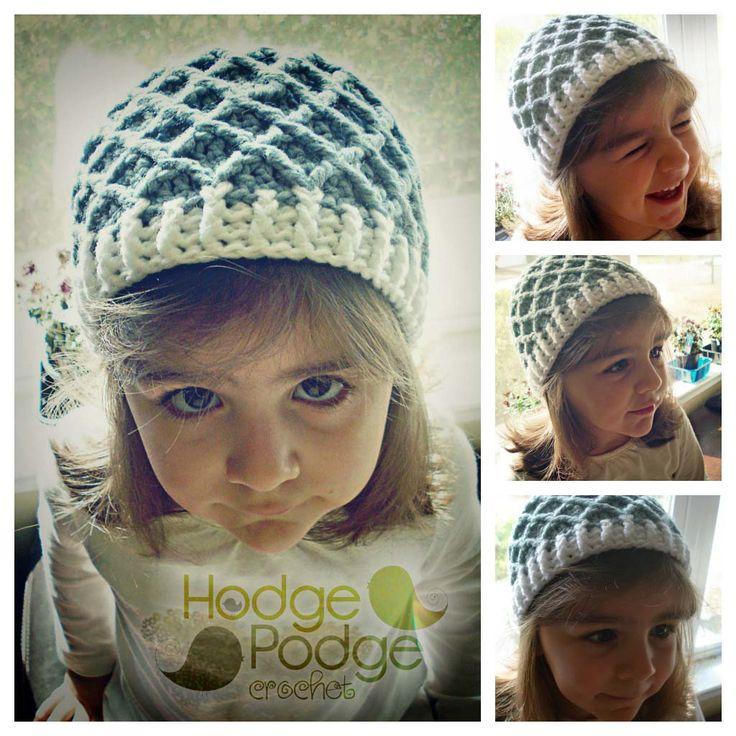 Crochet Diamond Pattern Hat Tutorial Crochet Pinterest