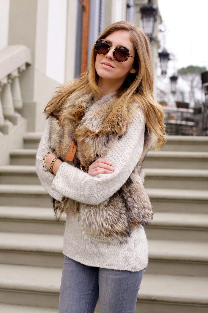 sweater & coyote fur vest