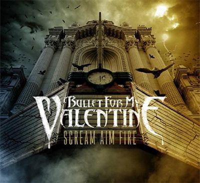 The cover for Bullet for My Valentine's album Scream Aim Fire. Awesome use of color, perspective, typography, and subject. Looks more like a Gothic castle than a theater.