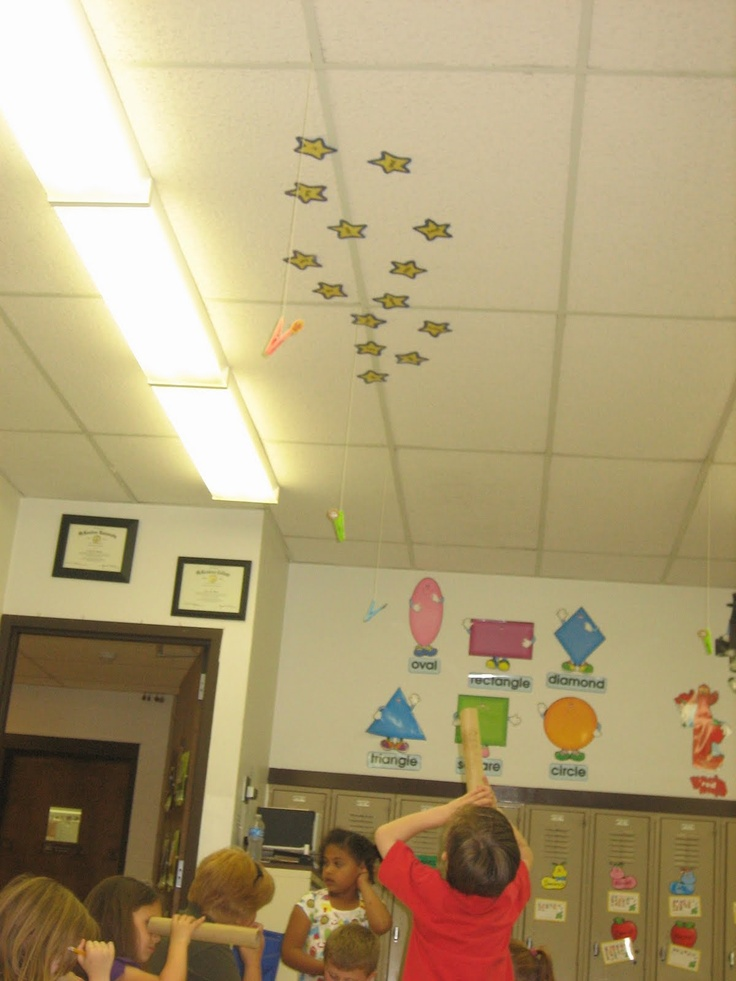"""Star gazing"" Kids look through paper towel roll (aka telescope) at sight words/spelling words/etc on stars on the ceiling. They say the word to a partner, and then record the word on their recording sheet. Practices recognizing in print, saying aloud and spelling in print."