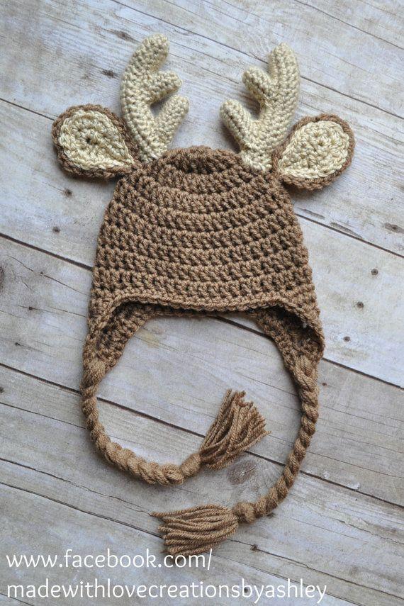 Crochet Baby Deer Pattern : Crochet Buck Deer Hat Earflaps Child Infant Toddler Baby boy