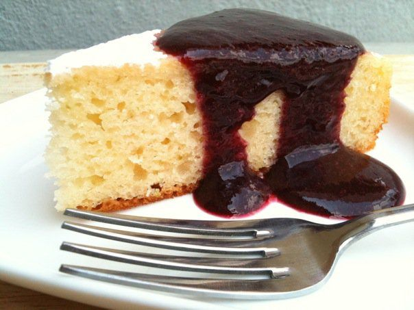 MADE THIS - Lime Yogurt Cake with Blueberry Sauce (made with gluten ...