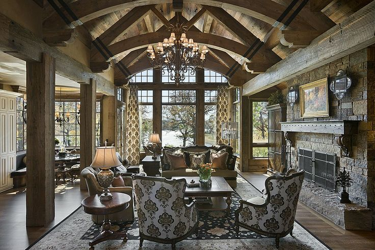 Rustic great room great rooms pinterest for Rustic great room