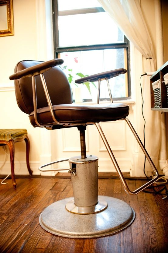 vintage barber chair at an East Village salon