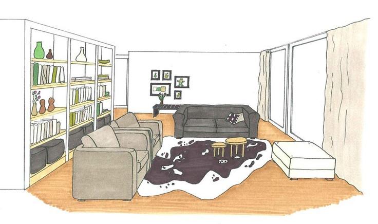 3D woonkamer Binnenkijken Interior / black white / zwart wit Pint ...