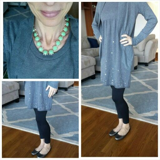 Grey sweater dress #francescas#newnecklace #target ballet flats #fashion #winter #modest #over40looksgood