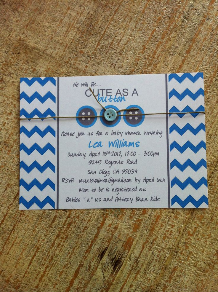 cute as a button baby shower invitation via etsy