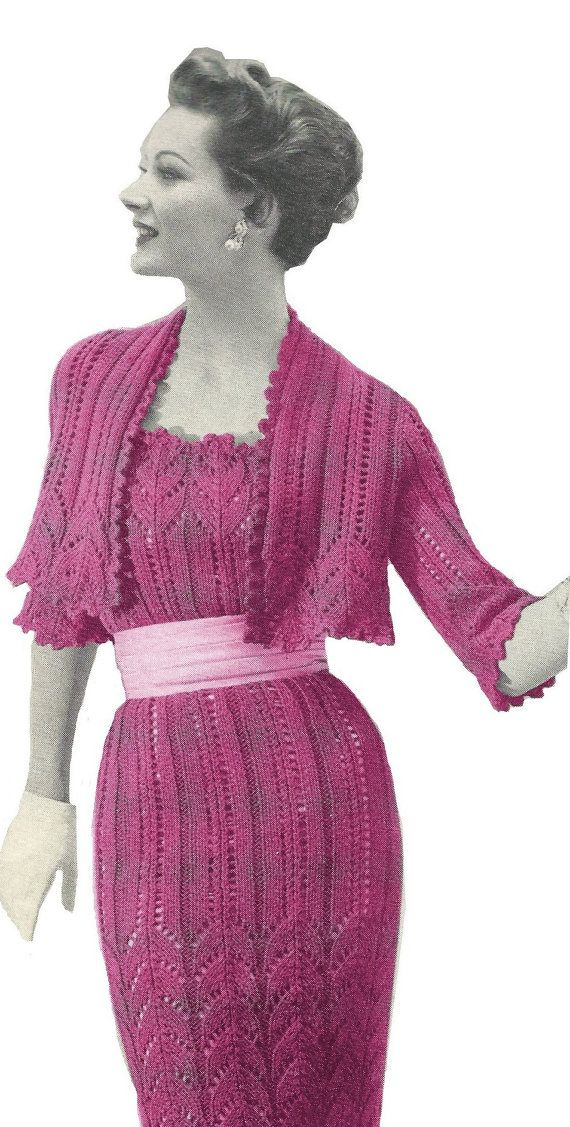1950s Lace Sheath Dress with Short Bolero Jacket 1960s - Knit pattern?