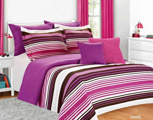 Girls bed set twin full purple pink striped girls bedding - Purple and pink comforter ...