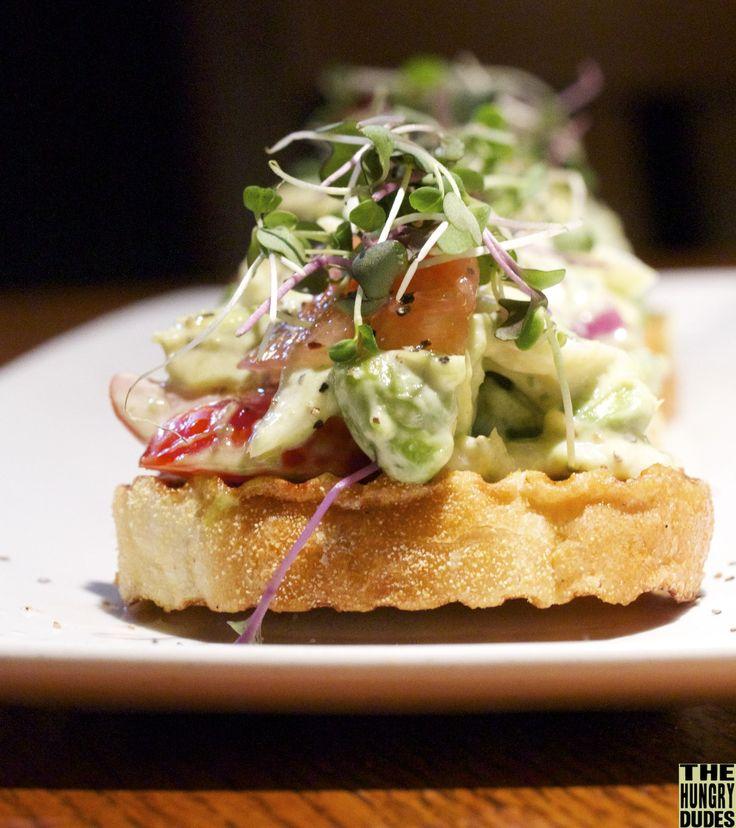 Jumbo Lump Crab & Avocado bruschetta with citrus aioli; garnished with ...