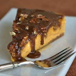 Spicy Pumpkin Cheesecake, gingersnap & pecan crust with maple caramel ...