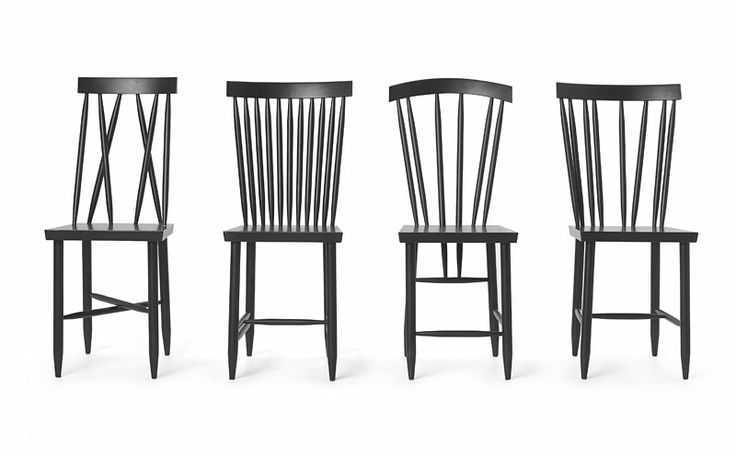 """Family chairs presents themselves as four individuals; together they form a boisterous family. Sold in pairs. Beech wood. Waterbased matte varnish. Total height: 33.5"""" – 34"""" depending on model. Seat width: 13.75"""", seat depth: 15.5"""", seat height (from ground): 17.25""""."""