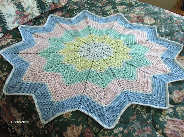 12-Point Star Baby Blanket Crochet Afghans by Me Pinterest