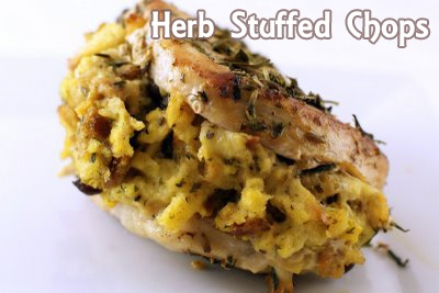 Herb stuffed pork chops, with a side of delicous.