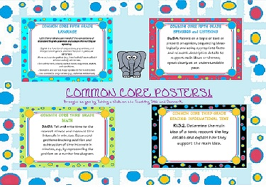 common core posters- all (ELA and MATH) different grades..bright and fun !