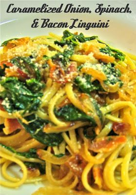 Carmelized onion, spinach and bacon linguini. Yum.