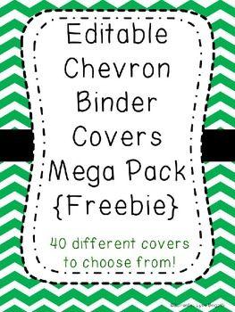 Editable Chevron Binder Covers {Freebie}