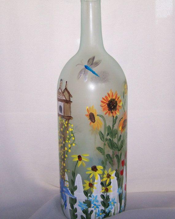 Hand painted light wine bottle garden soul for Hand painted bottles