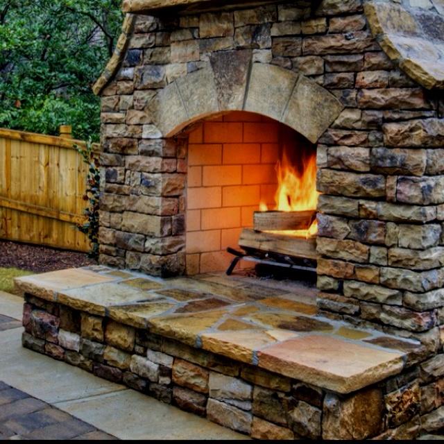 Outdoor Fireplace Backyard Pool Design Ideas Pinterest