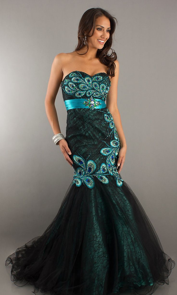 Peacock dress so pretty blue dresses gown pinterest for Prom dresses that look like wedding dresses