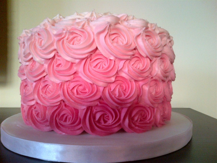 Cake Decorated With Piped Roses : Ombre piped rose cake Lauren s 1st Pinterest