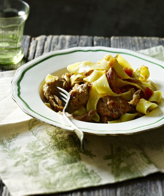 ... perfect foil for a rich ragù - made here with slow-cooked pork ribs