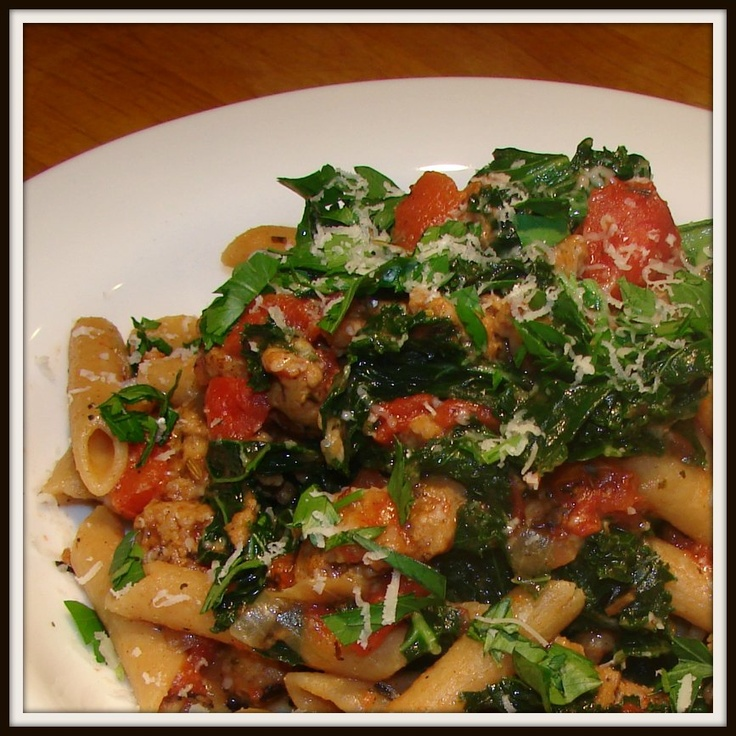 Sausage and Kale Pasta with Fire Roasted Tomatoes - The Lemon Bowl