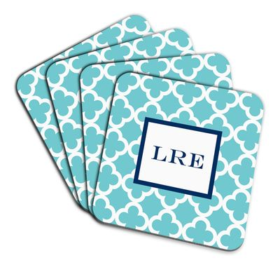 Teal Bristol Tile Coaster Set