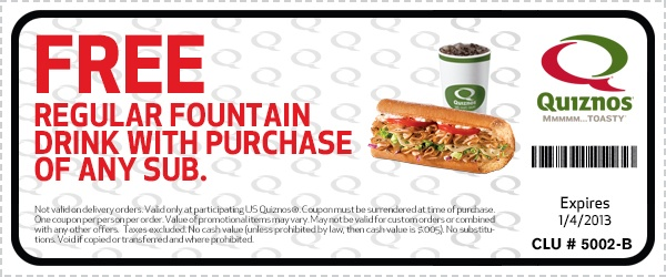 Quiznos printable coupons 2018