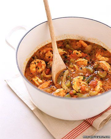 New Orleans-Style Shrimp and Rice - butter, flour, green pepper, onion, celery, canned whole plum tomatoes, chicken broth, parsley, cajon seasoning, paprika, salt, hot sauce, shrimp (1 lb peeled), rice ( 2 cups cooked)
