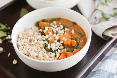 peanut stew with sweet potatoes and spinach (naturallyella.com)