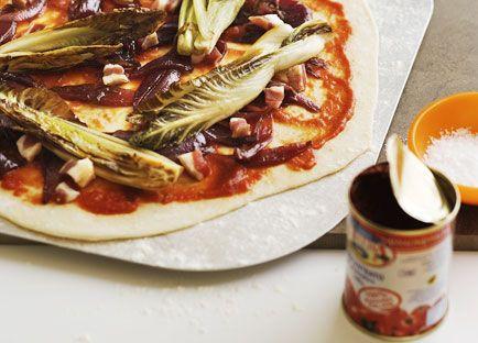 Radicchio, pancetta and balsamic onion pizza | Recipe